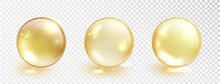 Gold Oil Bubble Set Isolated O...