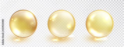 Foto Gold oil bubble set isolated on transparent background
