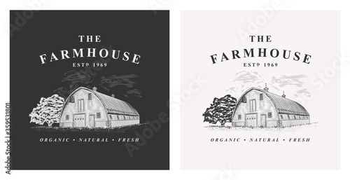 Photo Farmhouse and tree rural vintage vector logo illustration