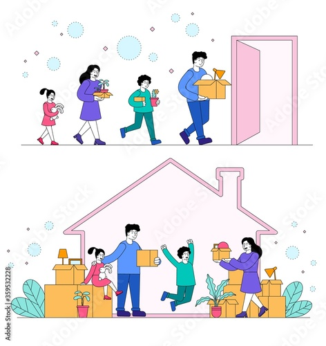 Family moving to anew house concept with the parents and children carrying boxes Canvas Print