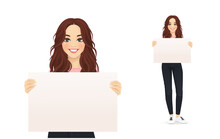 Beautiful Smiling Young Woman In Jeans Holding Empty Blank Board Isolated Vector Illustration