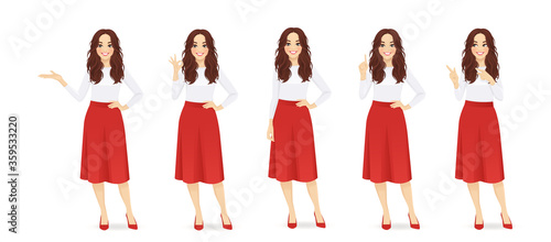Stampa su Tela Young woman with long hair in red skirt set different gestures isolated vector i