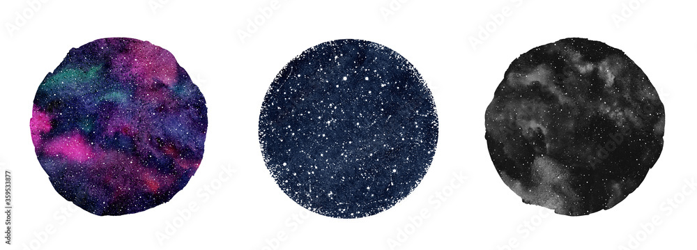 Fototapeta Cosmic, cosmos, space watercolor round backgrounds set. Watercolour circle shapes, colorful galaxy, universe, dark blue night sky with stars. Aquarelle stains texture. Text frames collection.