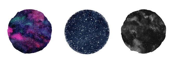 Cosmic, cosmos, space watercolor round backgrounds set. Watercolour circle shapes, colorful galaxy, universe, dark blue night sky with stars. Aquarelle stains texture. Text frames collection.