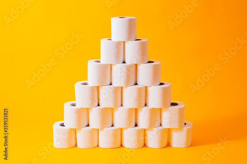 Fotografia Abstract concept with toilet paper, infochart pyramid