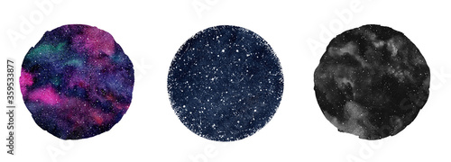 Fotomural Cosmic, cosmos, space watercolor round backgrounds set