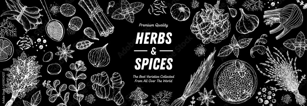 Fototapeta Herbs and spices hand drawn vector illustration. Aromatic plants. Hand drawn food sketch. Vintage illustration. Card design. Sketch style. Spice and herbs black and white design.