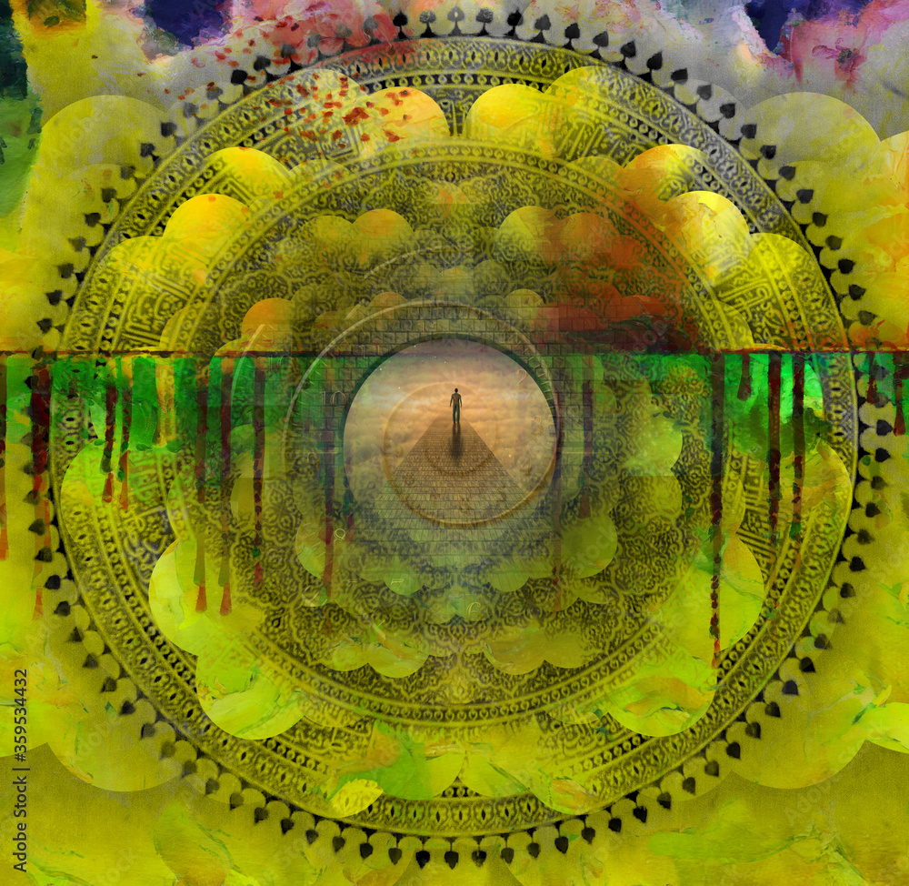 Fototapeta Surreal painting. Figure of man walks on a stone's road leading to another world. Indian mandala and spiral of time