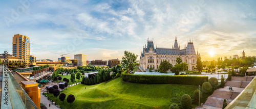 Panoramic view of Cultural Palace and central square in Iasi city, Romania Fotobehang