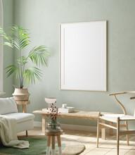 Mock Up Frame In Home Interior Background, Pastel Green Room With Natural Wooden Furniture, 3d Render