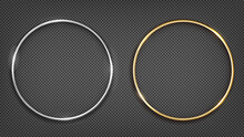 Vector Gold And Silver Ring Frame. Round Banner. Isolated On A Black Transparent Background. Vector Illustration
