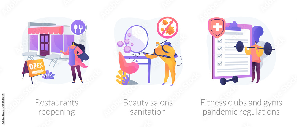 Fototapeta Pandemic business adaptation abstract concept vector illustration set. Restaurants reopening, beauty salons sanitation, fitness clubs and gyms pandemic regulations, distancing abstract metaphor.