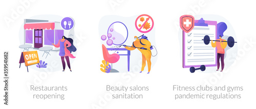 Pandemic business adaptation abstract concept vector illustration set. Restaurants reopening, beauty salons sanitation, fitness clubs and gyms pandemic regulations, distancing abstract metaphor.