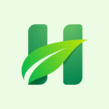 Ecology H Letter Logo With Gre...