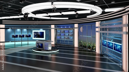 Obraz Virtual TV Studio News Set 27-4. 3d Rendering. Virtual set studio for chroma footage. wherever you want it, With a simple setup, a few square feet of space, and Virtual Set, you can transform any loca - fototapety do salonu