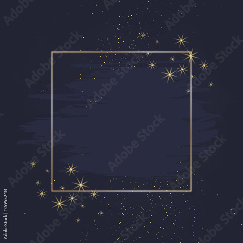 Magic night dark blue card with sparkling glitter and line art. Wallpaper Mural