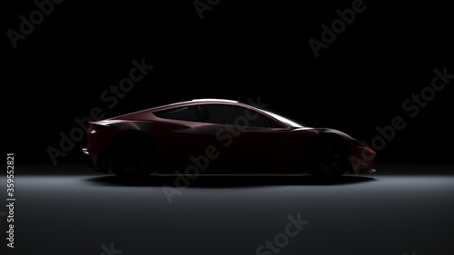 Valokuvatapetti Back Light Electric Sports Car 3d Render in Black Background