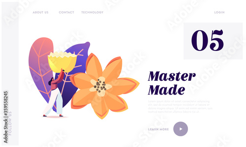 Photo Veggies and Fruits Carving Craft Exhibition Landing Page Template