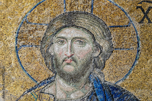 Photo Jesus Christ, a Byzantine mosaic in the interior of Hagia Sophia.