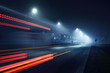 Leinwandbild Motiv An empty highway in a fog at night. Street Lights close-up, motion blur effect, long exposure. Dark urban scene, cityscape. Riga, Latvia. Dangerous driving, speed, freedom, concept image