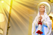Close Up Of Statue Of Our Lady Of Grace Virgin Mary In The Church, Thailand. Selective Focus.