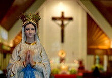 Close Up Of Statue Of Our Lady...