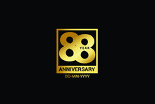 88 Years Anniversary Celebration Logotype. Anniversary Logo With Golden And Spark Light White Color Isolated On Black Background, Vector Design For Celebration, Invitation And Greeting Card-Vector