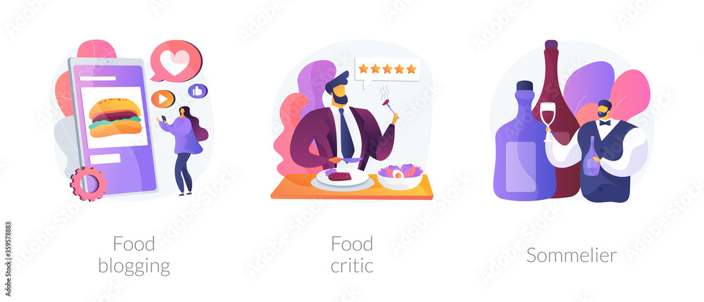Fototapeta Food review abstract concept vector illustration set. Food blogging and critic, sommelier, social media, restaurant chef, rating, expert opinion, culinary show, wine steward, foodie abstract metaphor.