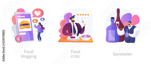 Food review abstract concept vector illustration set. Food blogging and critic, sommelier, social media, restaurant chef, rating, expert opinion, culinary show, wine steward, foodie abstract metaphor.