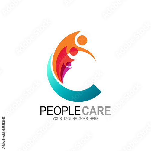 logo letter c with human and colorful, charity icon vector illustration Slika na platnu