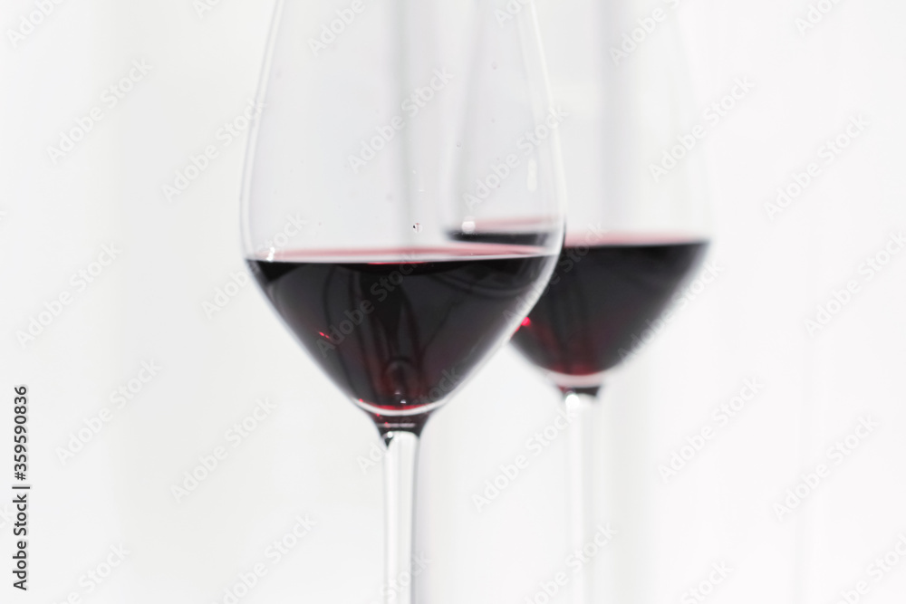 Two crystal glasses of red wine, organic beverage product
