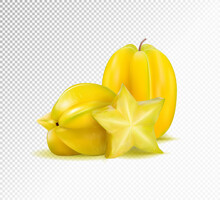 Karambola (star Fruit) With Slice On A Transparent Background. Realistic Vector Illustration, 3d