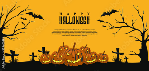 Obraz na plátně Halloween background with pumpkin illustrations with vectors easily edited as needed