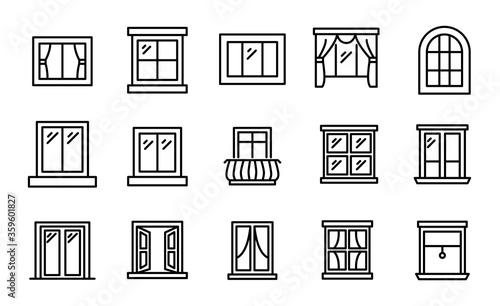 Obraz Big set of window line icons. - fototapety do salonu