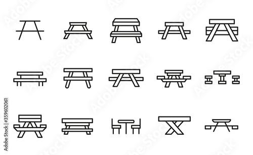 Fototapeta Simple set of picnic table icons in trendy line style. obraz