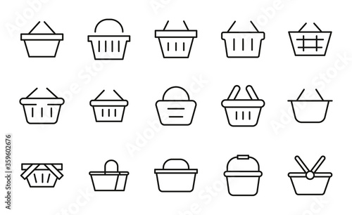 Leinwand Poster Premium set of shopping basket line icons.