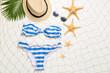 Leinwandbild Motiv Summer composition with beach accessories on white background