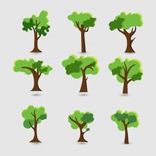 Set Of Green Tree Forest Backg...