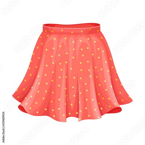 Fototapeta Short Flared Skirt with High Waist Isolated on White Background Vector Illustrat