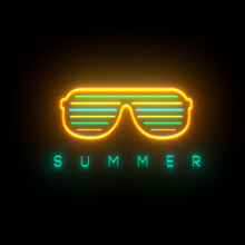 Summer Neon Sign Background, Light Effect