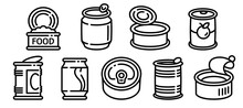 Tin Can Icons Set. Outline Set Of Tin Can Vector Icons For Web Design Isolated On White Background