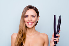 Close Up Photo Portrait Of Cute Pretty Attractive Brunette She Her Lady Holding Curl Iron In Hand Recommending New Protecting From Harmful Influence Iron Isolated On Grey Background