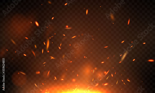 Fotomural Effect burning red hot sparks realistic fire flames abstract background