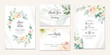 Wedding invitation template set with soft watercolor floral wreath and border decoration. Botanic illustration for card composition design