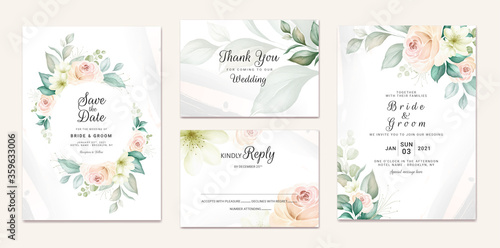 Fototapeta Wedding invitation template set with soft watercolor floral wreath and border decoration. Botanic illustration for card composition design obraz