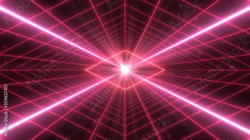 Synthwave Retro Grid Tunnel and Futuristic Diamond Neon Lights Glow - Abstract Background Texture