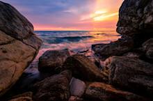 Ocean Water Splash On Rock Bea...