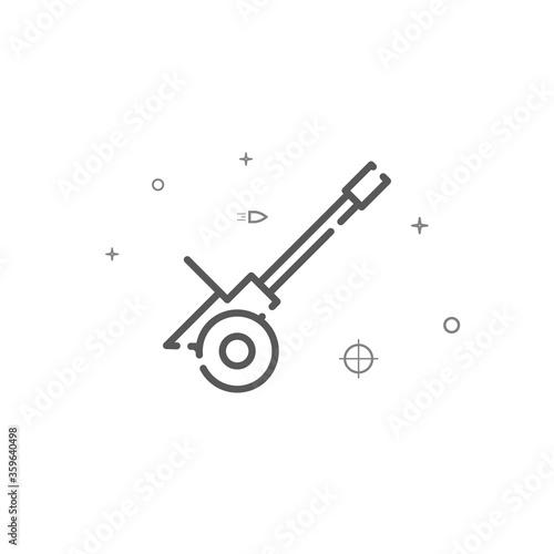 Anti-aircraft gun simple vector line icon Canvas Print