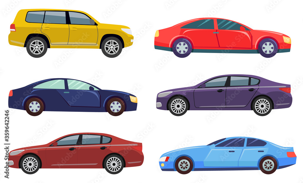 Fototapeta Cars automobile vector, isolated set of transport. Transportation, jeep hotrod, ecologically friendly auto, machine with motor engine traveling illustration in flat style design for web, print