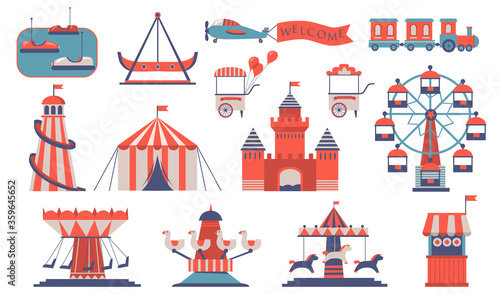 Photo Various amusements and carousels flat icon set